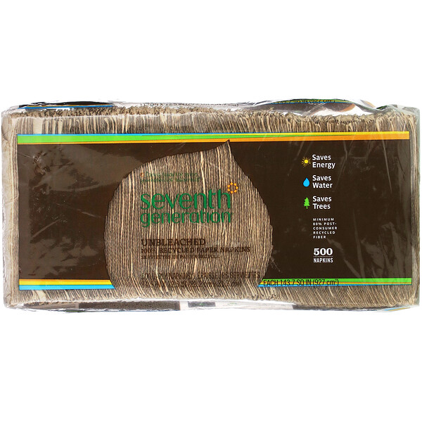 Seventh Generation, 100% Recycled Paper Napkins, 500 Napkins