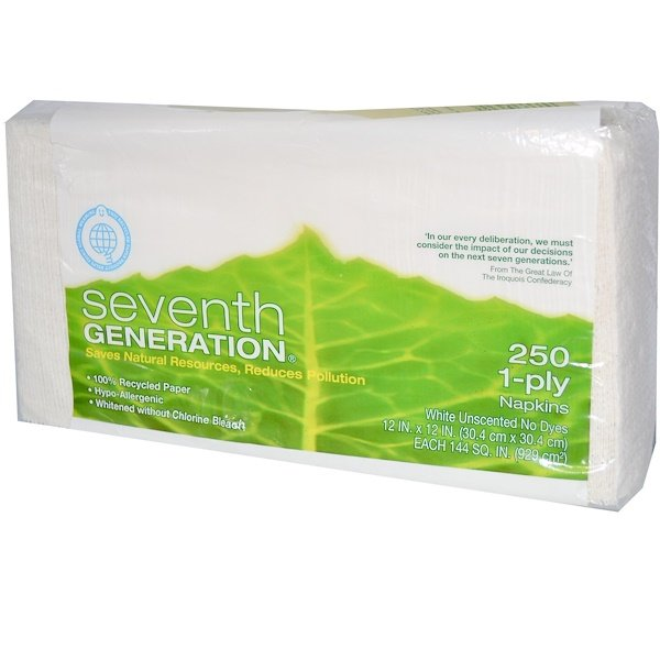 """Seventh Generation, Napkins, White, Unscented, 250 Count, 1-Ply, 12"""" x 12"""" Each (Discontinued Item)"""