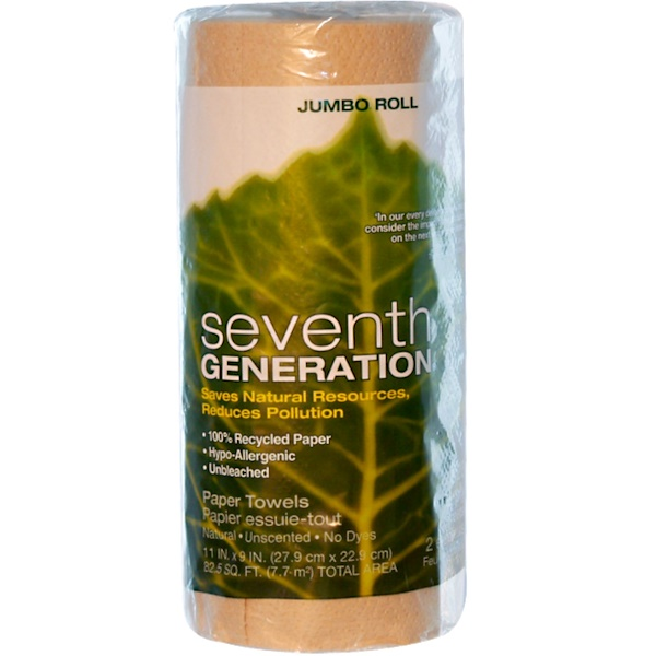 Seventh Generation, Paper Towels, 11 in x 9 in., 120 Sheets, 1 Jumbo Roll (Discontinued Item)