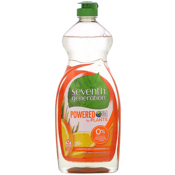 Seventh Generation, Dish Liquid, Clementine Zest & Lemongrass, 25 fl oz (739 ml) (Discontinued Item)
