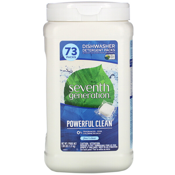 Seventh Generation, Dishwasher Detergent Packs, Fragrance Free, 73 Packs, 2.89 lbs (1.31 kg)
