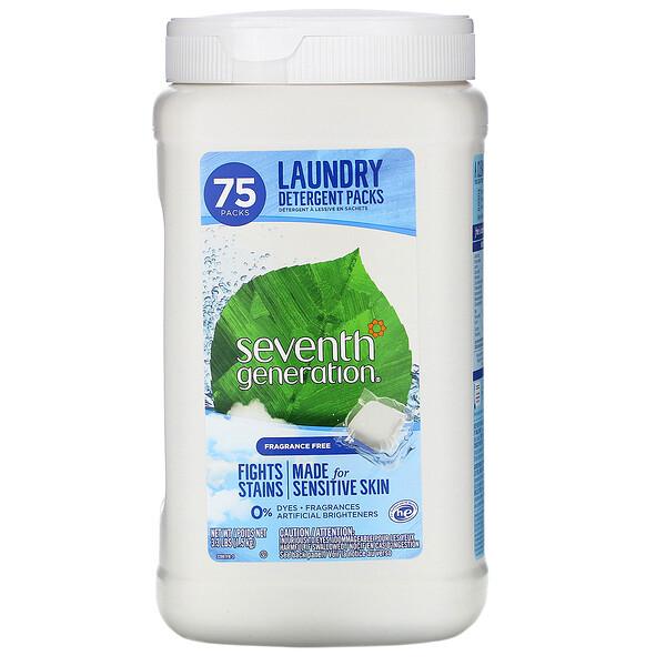 Seventh Generation, Laundry Detergent Packs, Fragrance Free, 75 Packs, 3.3 lbs (1.5 kg)