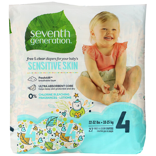 Free & Clear Diapers, Size 4, 22-32 lbs, 27 Diapers