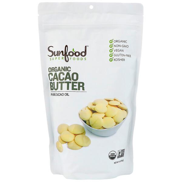 Sunfood, Органическое какао-масло, 454г (1фунт)