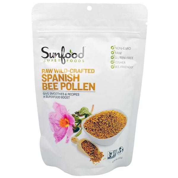 Sunfood, Сырая перга пиренейской медоносной пчелы, добытая в диких условиях, 227г (8унций)