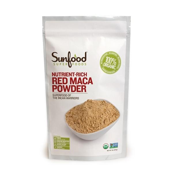 Sunfood, Порошок из красной маки перуанской, обогащенный питательными элементами, 1 фунт (454 г) (Discontinued Item)