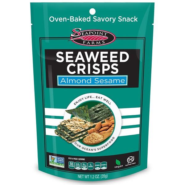 Seapoint Farms, Хрустящие морские водоросли, миндаль и кунжут, 1,2 унции (35 г)