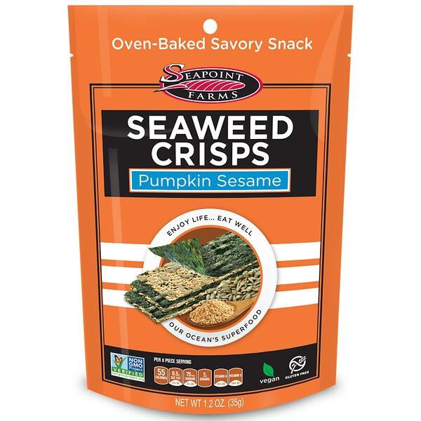 Seapoint Farms, хрустящие морские водоросли, с тыквой и кунжутом, 35 г (1,2 унции)