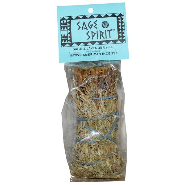 Sage Spirit, Благовония коренных Американце, шалфей и лаванда, Маленькие палочки 4-5 дюймов (Discontinued Item)