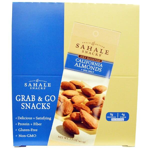 Sahale Snacks, Сухие обжаренные орехи, Калифорнийский миндаль & морская соль, 9 упаковок по 1,5 унции (42,5 граммов)
