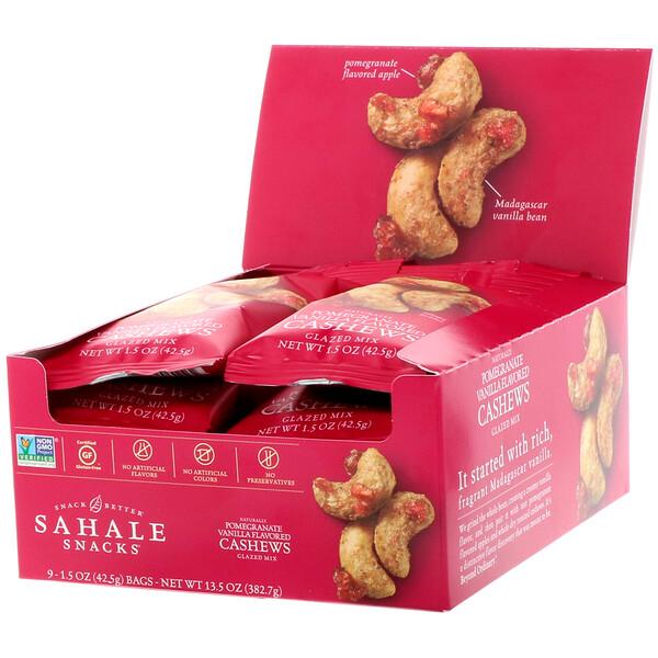 Sahale Snacks, Глазированные орехи, кешью с гранатом + ваниль, 9 пачек по 1,5 унции (42,5 г)
