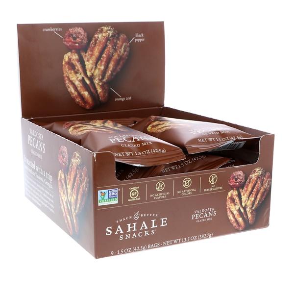 Sahale Snacks, Snack Better, Glazed Mix, Valdosta Pecans, 9 Packs, 1.5 oz (42.5 g) Each (Discontinued Item)