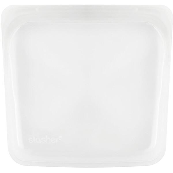 Stasher, Многоразовый силиконовый контейнер для еды, удобный размер для бутербродов, средний, прозрачный, 450мл (15жидк.унций)