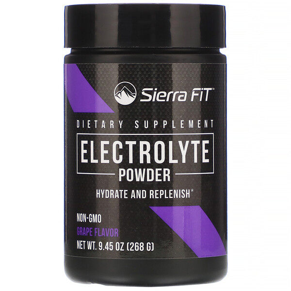 Sierra Fit, Порошок электролитов со вкусом винограда, 0 калорий, 268г (9,45унции)