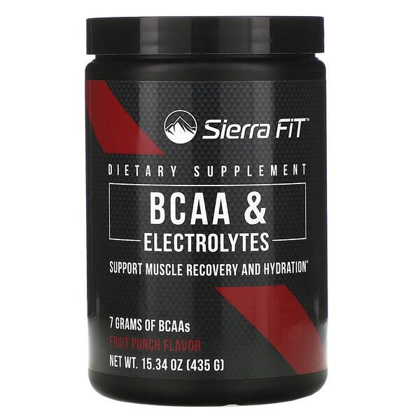 Sierra Fit, аминокислоты с разветвленными цепями (BCAA) и электролиты, 7г BCAA, со вкусом фруктового пунша, 435г (15,34унции)