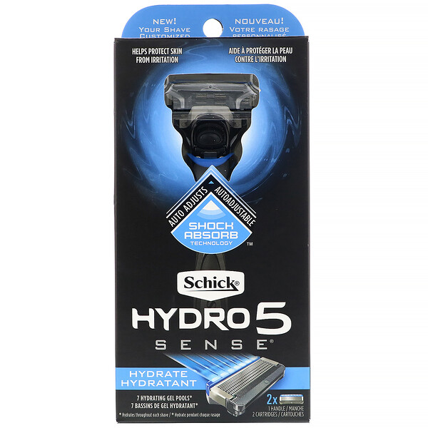 Schick, Hydro5 Sense Hydrate, бритва, 1бритва, 2кассеты