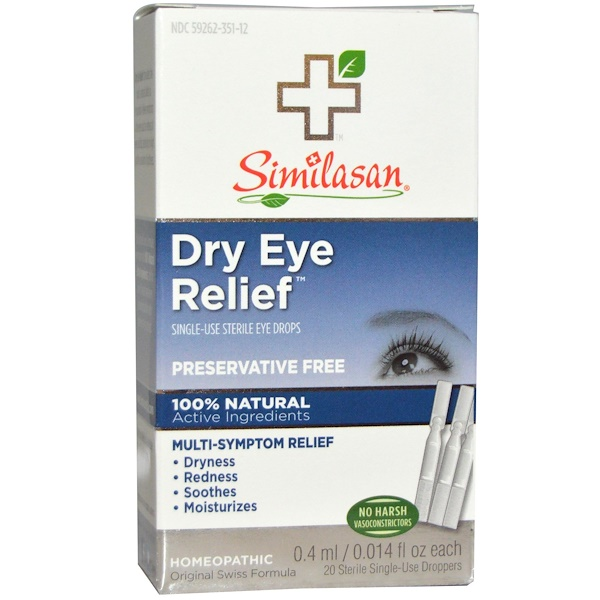 Similasan, Облегчение  при сухости глаз, глазные капли, 20 стерильных одноразовых пипеток, 0,015 жидких унций (0.45 мл) в каждой (Discontinued Item)