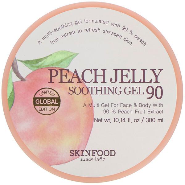 Skinfood, Peach Jelly, успокаивающий гель (персиковое желе) 90, 300 мл (10,14 жидк.унций)