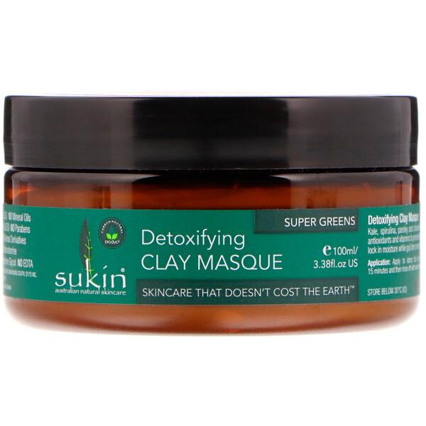 Sukin, Super Greens, глиняная маска для выведения токсинов, 100мл (3,38жидк.унции)