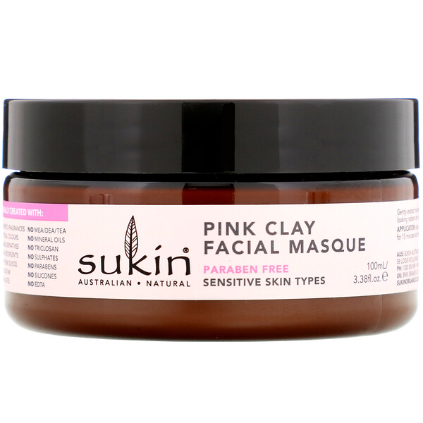 Маска для лица с розовой глиной, для чувствительной кожи, 100мл (3,38унции)