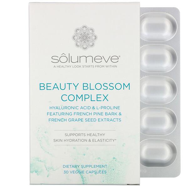 Solumeve, Beauty Blossom, комплекс для увлажнения кожи и выработки коллагена, 30растительных капсул