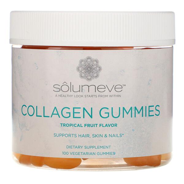 Solumeve, Коллагеновые жевательные таблетки, без желатина, вкус тропических фруктов, 100жевательных таблеток