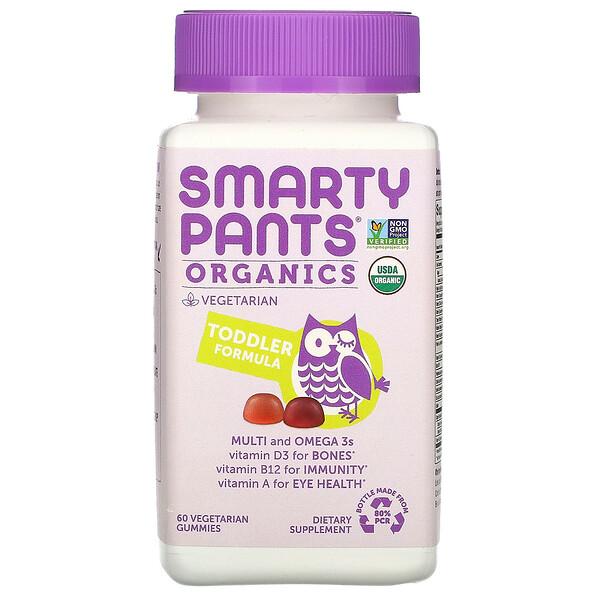 SmartyPants, Organics, комплекс для малышей, вишня и ягодный микс, 60вегетарианских жевательных таблеток