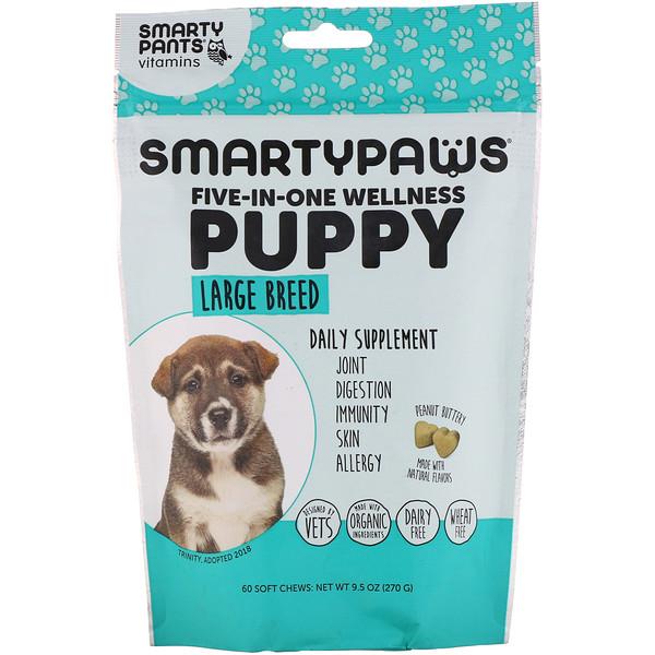 SmartyPants, SmartyPaws, комплексная добавка 5 в 1, для щенков крупных пород, 60мягких жевательных таблеток (Discontinued Item)