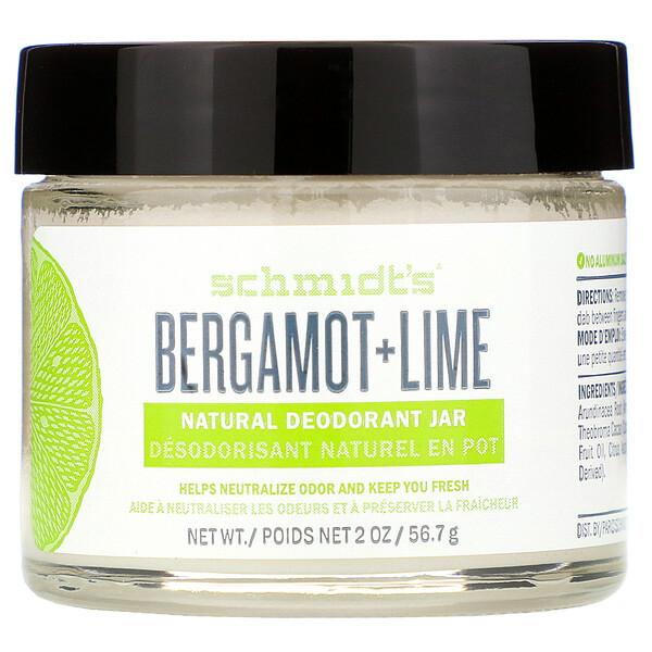 Schmidt's, Натуральный дезодорант в баночке, бергамот и лайм, 56,7г (2унции)