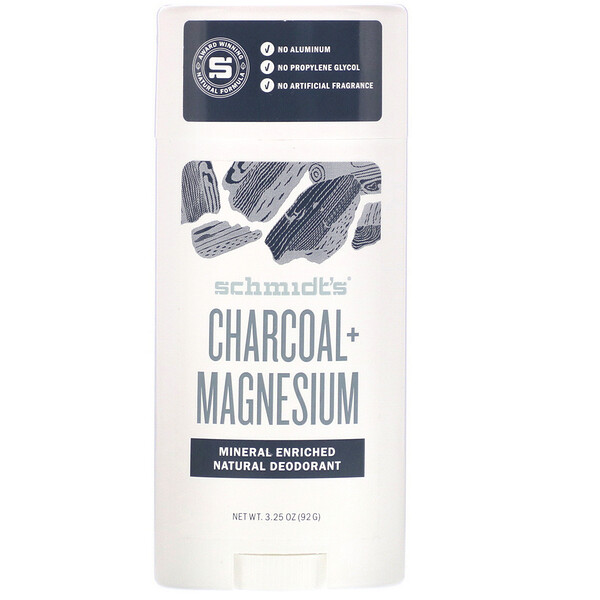 Schmidt's, Натуральный дезодорант, древесный уголь+ магний, 92г (3,25унции)