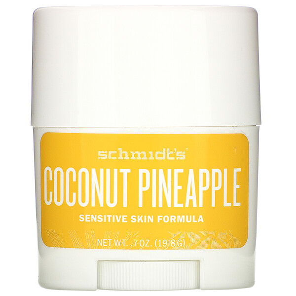 Schmidt's, Natural Deodorant, Sensitive Skin Formula, Coconut Pineapple, .7 oz (19.8 g) (Discontinued Item)