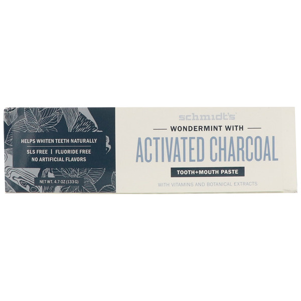 Tooth + Mouth Paste, Wondermint with Activated Charcoal, 4.7 oz (133 g)