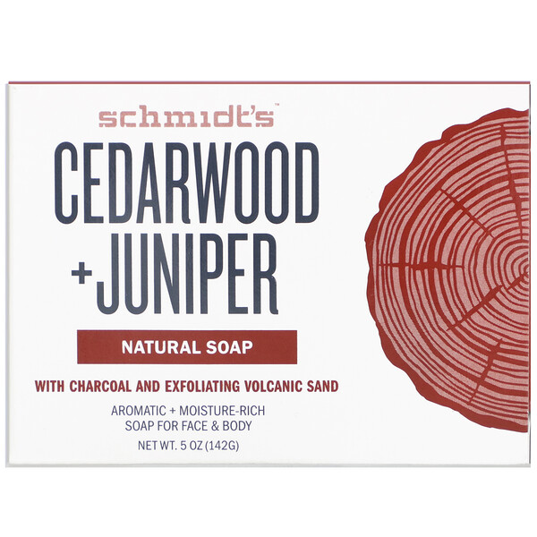 Schmidt's Naturals, Natural Soap, Cedarwood +Juniper, 5 oz (142 g)