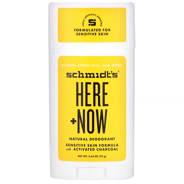 Schmidt's Naturals, Natural Deodorant, Sensitive Skin Formula with Activated Charcoal, Here + Now, 2.65 oz (75 g) (Discontinued Item)