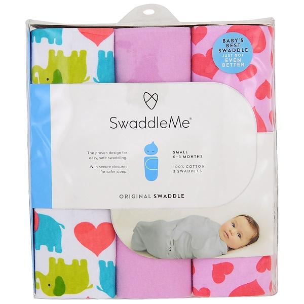 Summer Infant, Запеленай меня, оригинальные пеленки, маленькие, 0-3 месяца, сердца со слониками, 3 пеленки (Discontinued Item)