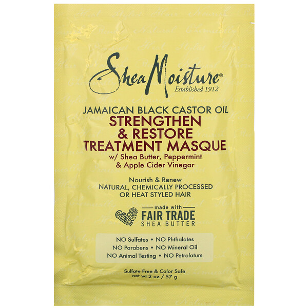 SheaMoisture, Jamaican Black Castor Oil, Strengthen & Restore Treatment Masque, 2 oz (57 ml)