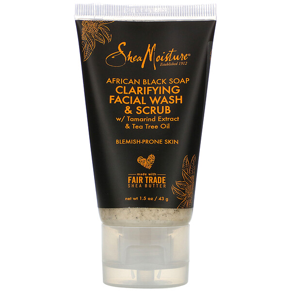 SheaMoisture, African Black Soap, Clarifying Facial Wash & Scrub, 1.5 oz (43 g) (Discontinued Item)