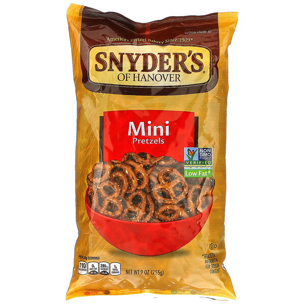 Snyder's, Мини претцели, без содержания жира, 255,2 г (9 oz)