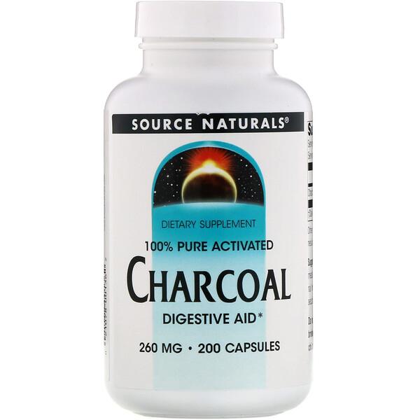 Source Naturals, Древесный уголь, 260 мг, 200 капсул