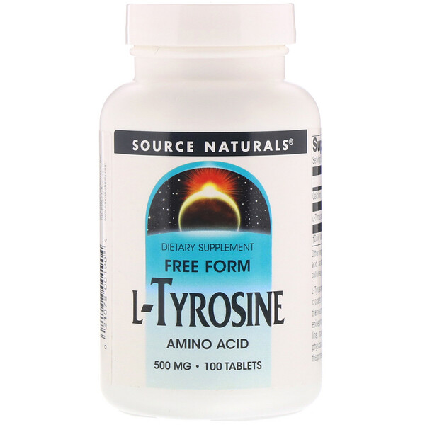 Source Naturals, L-тирозин, 500мг, 100таблеток