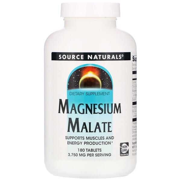 Source Naturals, Малат магния, 3750мг, 180 таблеток