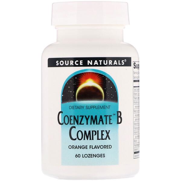 Source Naturals, Комплекс витаминов B Coenzymate, апельсиновый вкус, 60 леденцов