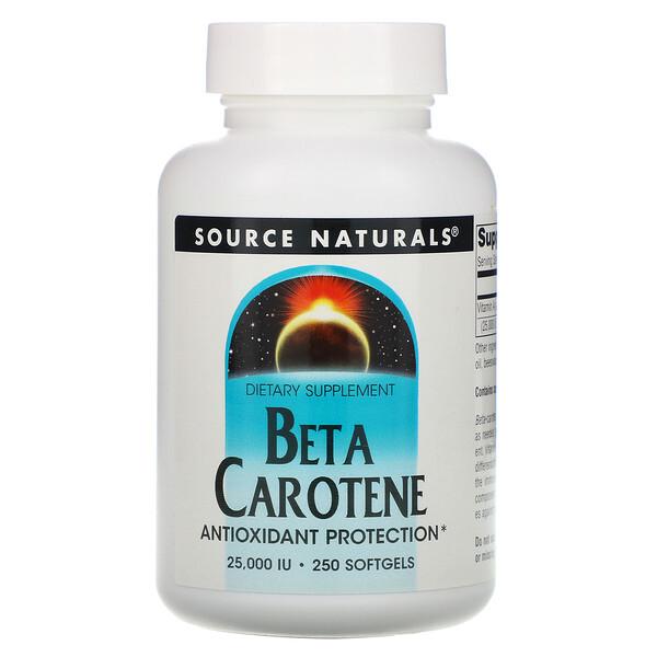 Бета-каротин, 25 000 МЕ, 250 мягких желатиновых капсул