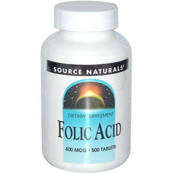 Source Naturals, Фолиевая кислота, 800 мкг, 500 таблеток