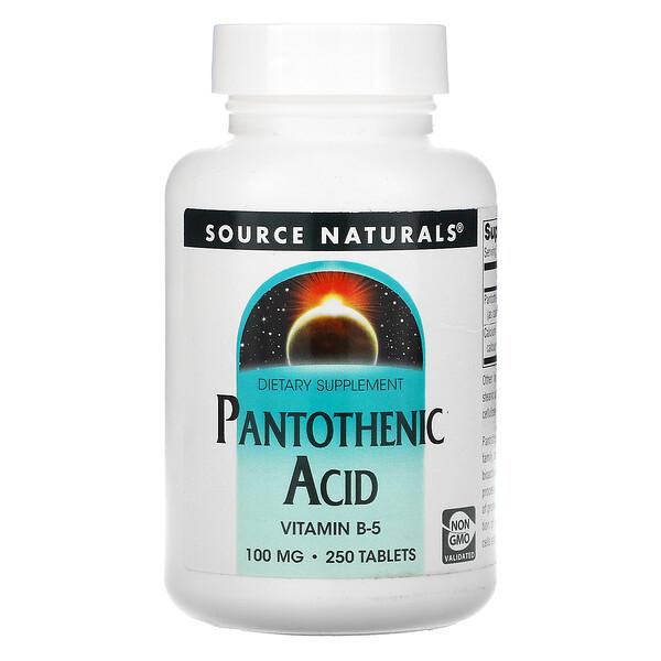 Source Naturals, Пантотеновая кислота, 100 мг, 250 таблеток