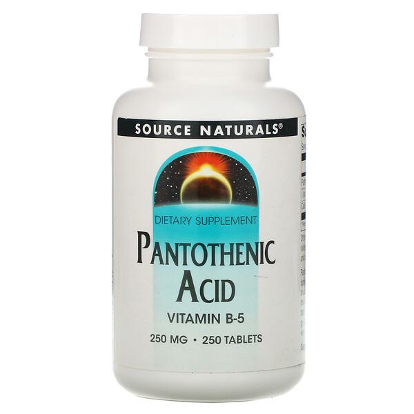 Source Naturals, Пантотеновая кислота, витамин В-5, 250 мг, 250 таблеток