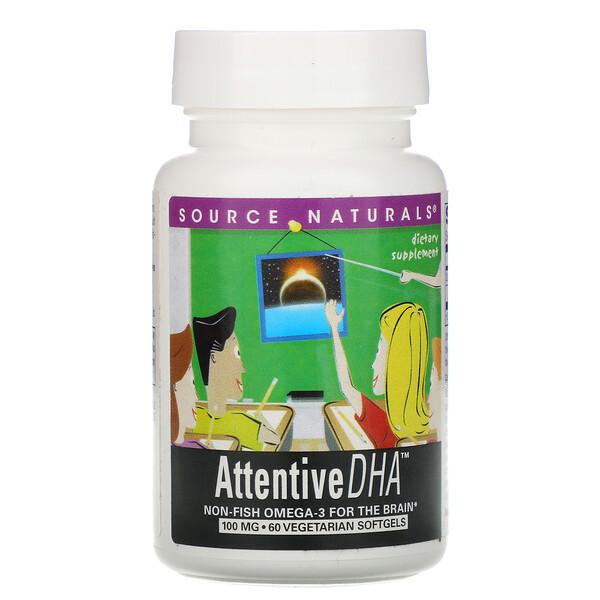 Attentive DHA, 100 mg, 60 Vegetarian Softgels