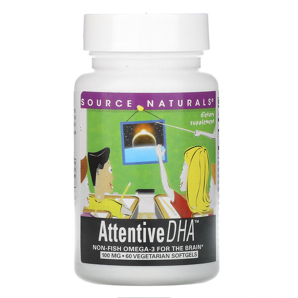 Source Naturals, Attentive DHA, 100 mg, 60 Vegetarian Softgels