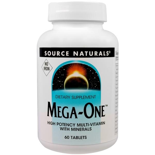 Source Naturals, Мультивитамины Mega-One без железа, 60 таблеток