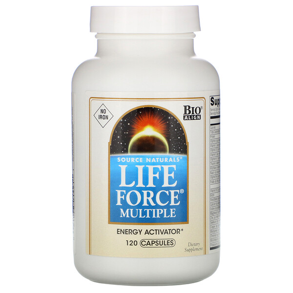Source Naturals, Мультивитамины Life Force, без железа, 120 капсул